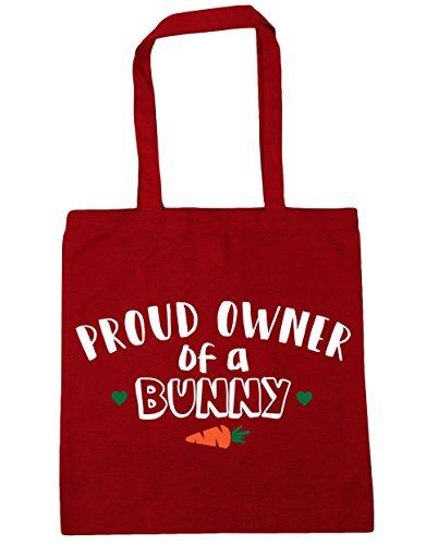 HippoWarehouse orgulloso propietario de un conejo bolsa de la compra bolsa de playa 42cm x38cm, 10litros Classic Red
