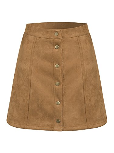Persun Women's Brown Faux Suedettte Button Front Plain A-line Mini Skirt ,Brown ,Medium