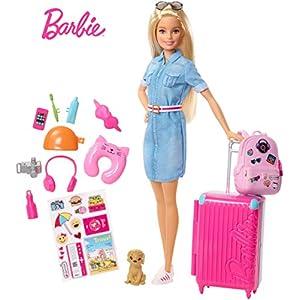 Barbie in Viaggio, Bambola Bionda con Cucciolo, Valigia che si Apre, Adesivi e Accessori, Giocattolo per Bambini 3… 4 spesavip