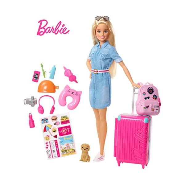 Barbie in Viaggio, Bambola Bionda con Cucciolo, Valigia che si Apre, Adesivi e Accessori, Giocattolo per Bambini 3… 1 spesavip