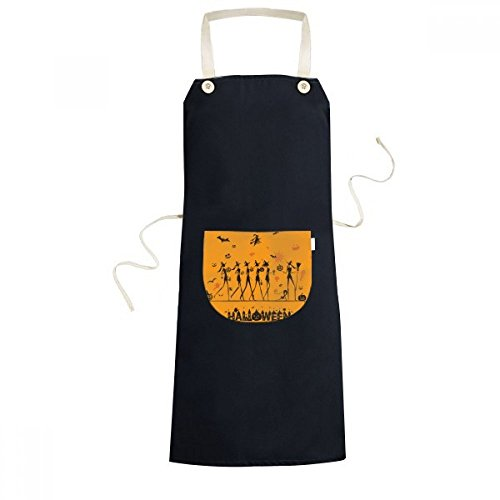 cold master DIY lab Halloween Long Legged Witch Cartoon Cooking Kitchen Black Bib Aprons with Pocket for Women Men Chef Gifts