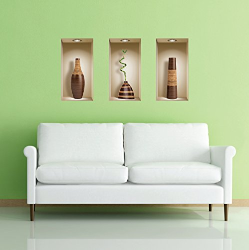 The Nisha Art Magic 3D Vinyl Removable Wall Sticker Decals DIY, Set of 3, Brown Vases by the Nisha (Image #5)