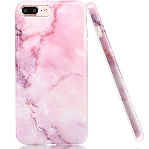buy popular b4502 8d14e iPhone 7 Plus Case Marble, LUOLNH Baby Pink Marble Design Slim ...