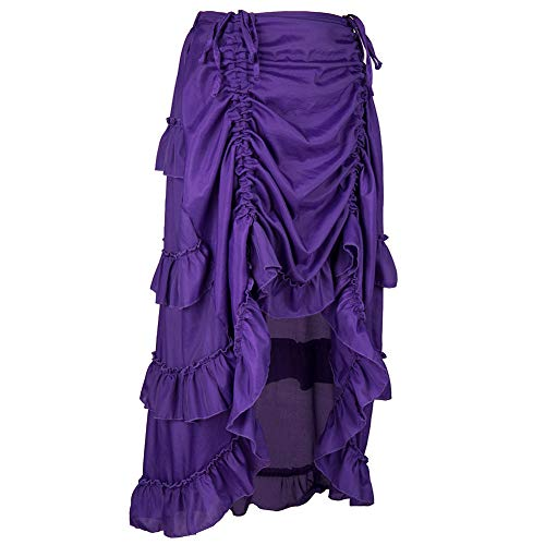 Women Skirt Steampunk Gothic High Low Cyberpunk Bustle Style Skirt (2XL, Purple)