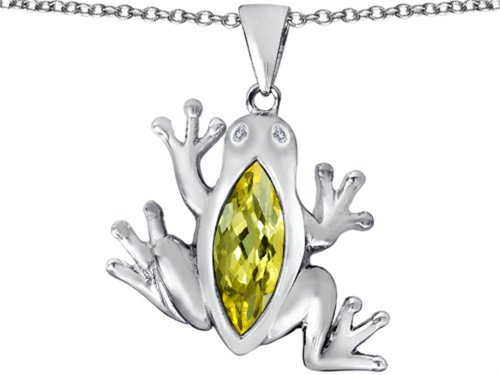 Star K Lucky Frog Pendant Necklace with Marquise Shape Simulated Citrine