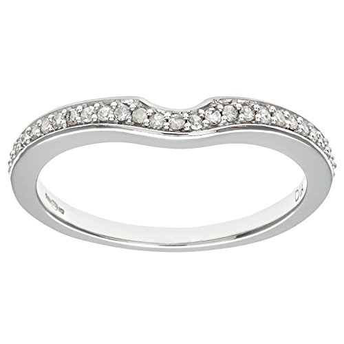 Naava Women's 9 ct White Gold Round Brilliant Cut 0.1 ct Diamond Eternity...