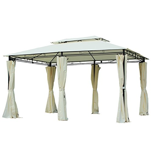 - Outsunny 13' x 10' Outdoor 2-Tier Steel Frame Gazebo with Curtains - Black/Cream