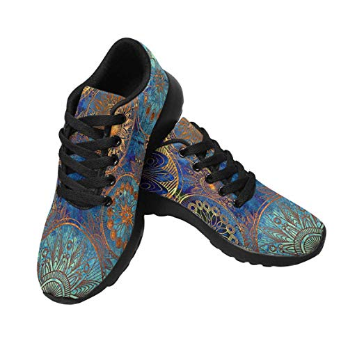 InterestPrint Womens Jogging Sneakers Outdoor Sport Cross Training Shoes US9 Damask Pattern with Circles Floral Ornament