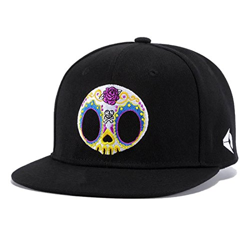 (Skull Mask Embroidery Snapback,Rose Love Skeleton Mens Womens Baseball Cap Flat Bill Hats)