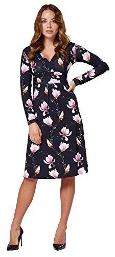 robe 890z Fleurs cocktail patineuse longues Ville manches femme Noir Zeta Robe de HzXaxq