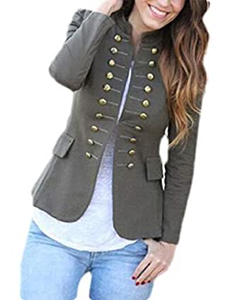 Women Buttons Coat Blazer Suit Long Sleeve Tops Slim Jacket Outwear 1 L