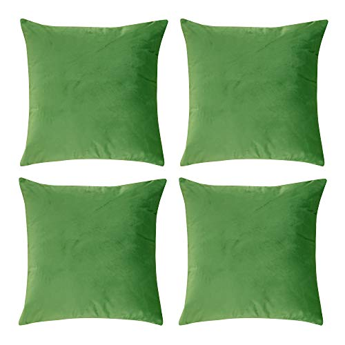 Deconovo Plush Velvet Pillow Cases Super Soft Home Decorative Cushion Cover with Invisible Zipper for Chair 18 x 18 Inch Bright Green Set of 4 ()