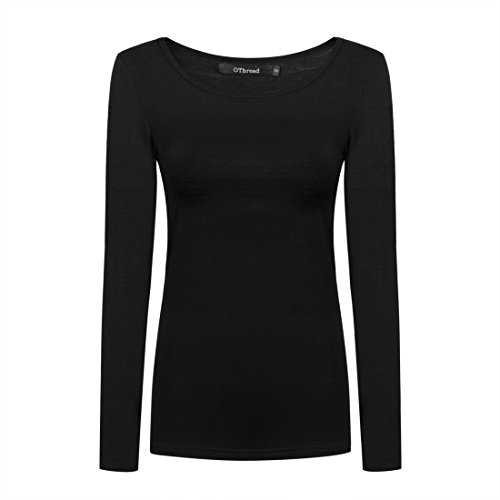 - OThread & Co. Women's Long Sleeve T-Shirt Scoop Neck Basic Layer Spandex Shirts (Small, Black)
