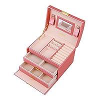 WIBERTA ジュエリーボックス アクセサリーケース 大容量 携帯用 鏡 鍵付き ピンク