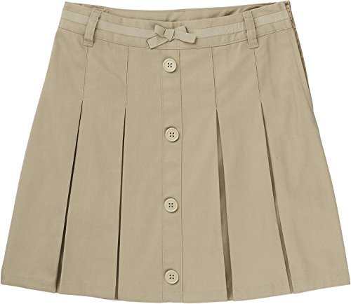 French Toast School Uniform Girls Pleat Button Front Scooter, Khaki, 8