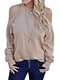 Women Casual Ripped Cut Out Sweatshirts Hoodies Blouses Tops