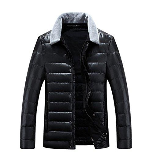 LUOTIANLANG Young PU skin short jacket, high quality winter thickening down jacket, men's fashion warm coat Black
