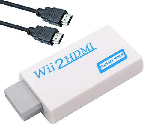 - Wii to HDMI Converter Adapter with 3ft High Speed HDMI Cable Wii2HDMI Adapter Output Video Audio with 3.5mm Jack Audio Supports All Wii Display Modes (NTSC 480I, 480P,PAL 576I), Compatible wit (White)