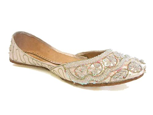 Beachcombers Womens Khussa Ivory Silk Beaded Flats Size 12