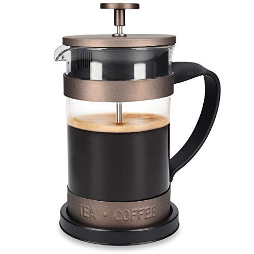 Navaris Cafetera Francesa de Acero Inoxidable - Tetera cafetera de embolo Vintage de 600 ML para 5 Tazas con Jarra de Cristal y Filtro - Marron