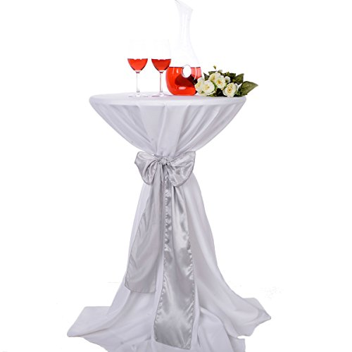LOVWY 30 Inch (2.5 FT) Cocktail Tablecloth Seamless Polyester Fabric + Satin Sash Combination for Decoration of Wedding Engagement Club Bar Outdoor Party (White Tablecloth, Silver)