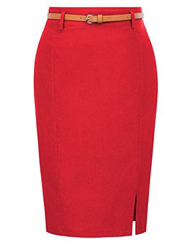 Women's Casual Midi Bodycon Career Pencil Skirt with Belt Size M -
