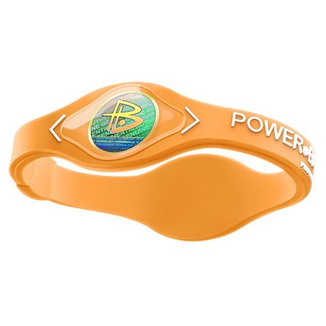 Power Wristbands - Power Balance Silicone Wristband - Genuine (Neon Orange w/White Lettering, L)
