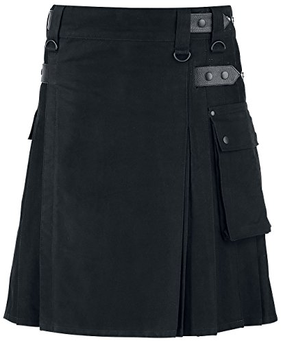 New Men's Scottish Utility Kilt Black 100% Cotton Custom Made Handmade Adult Kilt (46, Black Kilt) by Darkrock