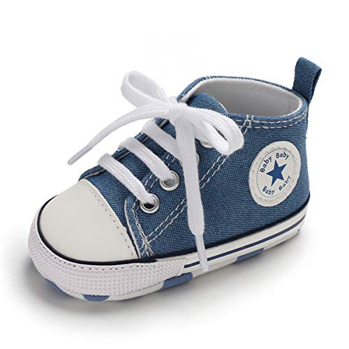 Baby Girls Boys Canvas Shoes Soft Sole Toddler First Walker Infant High-Top Ankle Sneakers Newborn Prewalker Crib Shoes(B-Denim Blue,6-12 Months M US Infant ()