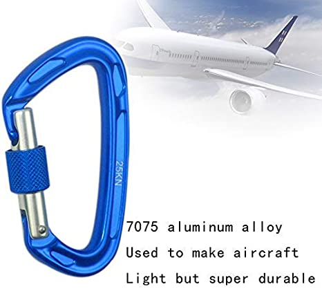 Search /& Rescue Professional Fall Protection Accessory for Climbing JZHY 25KN Ultra-Light Locking Climbing Carabiner,7075 Aircraft-Grade Aluminum Rated up to 5600 lbs Hiking and Hammock Suspension
