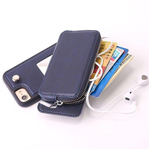 DuoShengZhTG Per iphone 8e 7Custodia protettiva TPU + rotazione rimovibile di pelle con borsa a portafoglio con cerniera Grigio Grigio Blu scuro