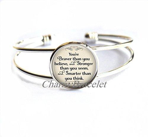 Charm Bracelet, Fashion Bracelet, Dainty Bracelet, Simple Bracelet,You're Braver than you believe, Stronger than you seem, literary Bracelet, inspirational jewelry literary quote (Winnie The Pooh Halloween Quote)