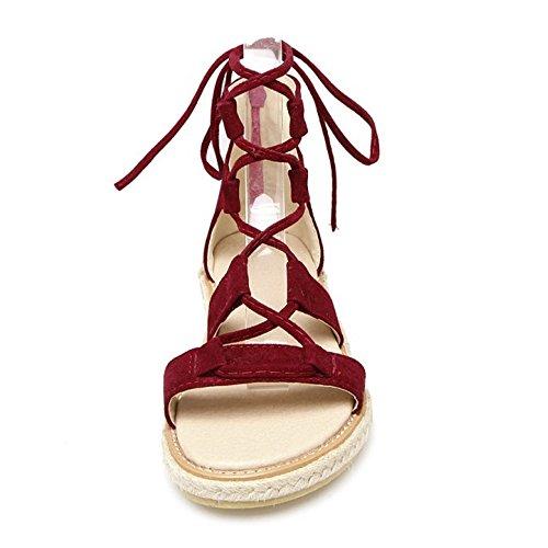 COOLCEPT Zapatos Moda Cordones Sandalias Gladiator Zip Sandalias Punta Abierta para Mujer Rojo