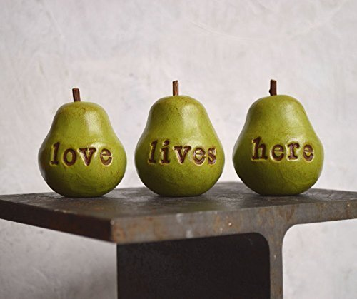 Set of 3 custom text rustic green word pears personalized text or phrase