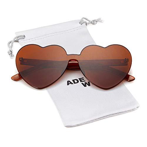 Love Heart Shape Sunglasses Women Rimless Frame Colorful