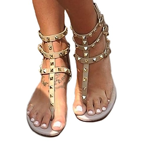 Hinyyrin Women's Apricot Rivet Studded Strappy Sandals Slingback Gladiator Shoes Cut Out Dress Flat Sandals Size 9.5-10