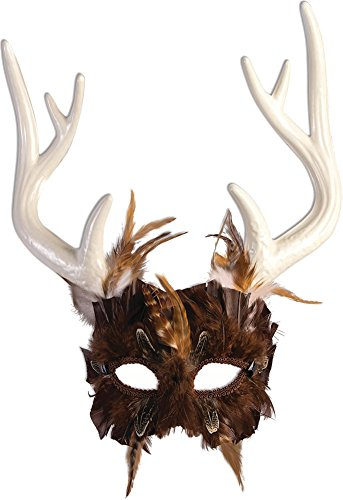 Unisex-Adults Mask-Guardian of the Forest, Black, White, Standard
