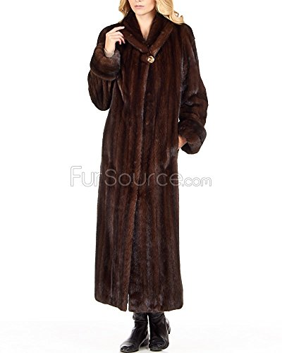 Frr Mahogany Mink Full Length Coat with Shawl Collar - Medium