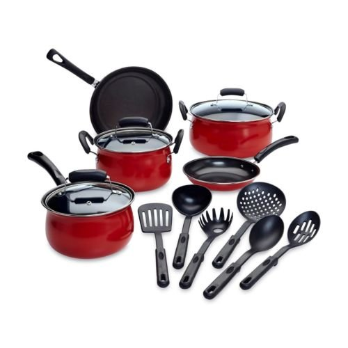 Essential Home 14-Piece Red Non-stick Cookware Set Pots Pans