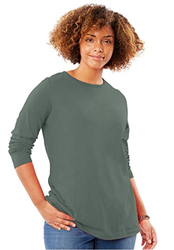 Women's Plus Size Crew Neck Perfect T-Shirt Pine,5X Pine Green Apparel