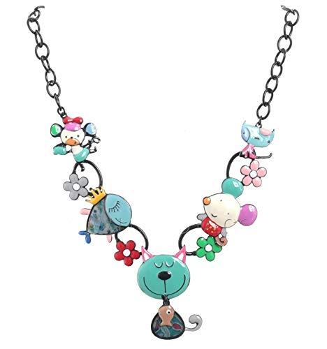 nouvelle version en présentant mode de luxe BIJOUX LOL collier Tom le chat bleu fleur souris ras de cou ...