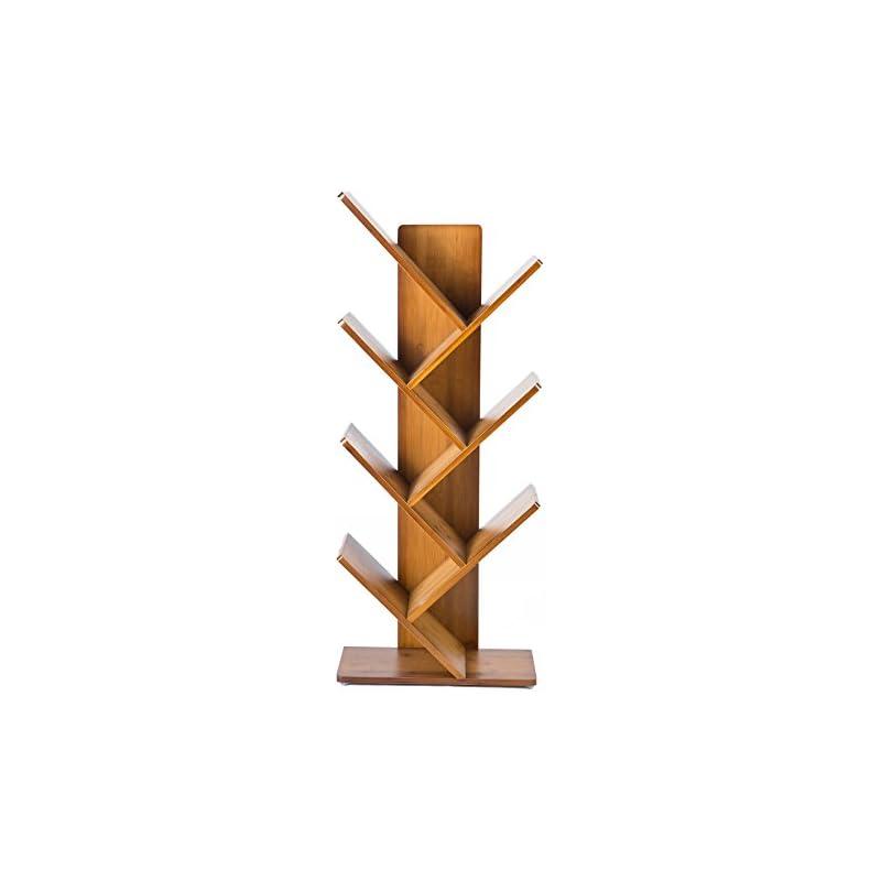 C&AHOME 7 Shelf Tree Bookcase Bamboo Boo