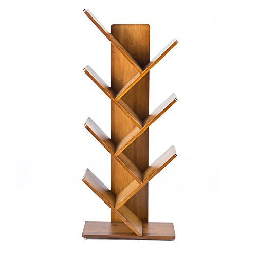 C&AHOME 7 Shelf Tree Bookcase Bamboo Bookshelf Hard Wood Display Rack Storage Organizer for CDs & Books, Oak Red