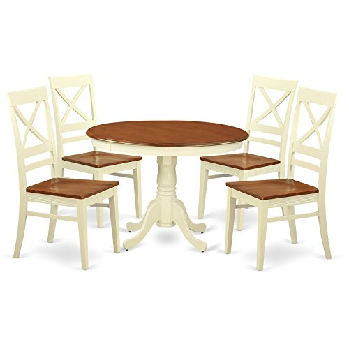East West Furniture HLQU5-BMK-W 5Piece Hartland Set with One Round 42in Table & Four Kitchen Chairs with Wood Seat in a Beautiful Buttermilk & Cherry Finish