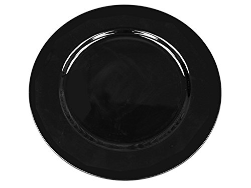 (BalsaCircle 6 pcs 13-Inch Black Acrylic Round Charger Plates - Dinner Chargers Wedding Party Supplies for all Holidays)