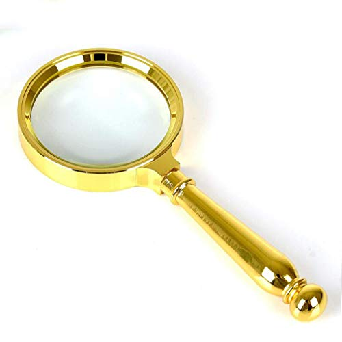 (Personal aids Magnifying Glass 20 Times Handheld Magnifying Glass HD Optical Lens for Reading Books Map Detection Crafts Hobby Material Zinc Alloy Mirror Diameter 80mm Loupe)