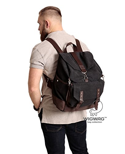2aadc5b59 Amazon.com: Mens canvas leather backpack, large canvas backpack,  convertible canvas leather backpack, mens rucksack: Handmade