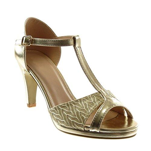 Angkorly Damen Schuhe Pumpe Sandalen - T-Spange - Stiletto - Peep-Toe - Glänzende - Spitze Stiletto High Heel 8.5 cm Gold