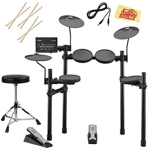 Yamaha DTX402K Electronic Drum Set Bundle with Drum Throne, Drum Sticks, Aux Cable, and Austin Bazaar Polishing Cloth