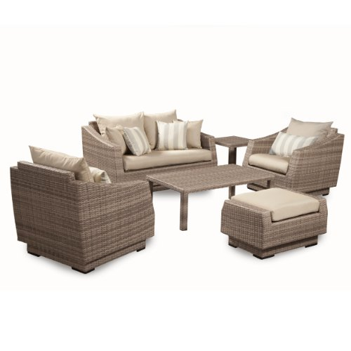 RST Brands 6-Piece Cannes Love and Club Deep Seating Group Patio Furniture Set, Slate Gray (Deep Furniture Patio Seating Aluminum)